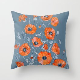Red poppies in grey Throw Pillow