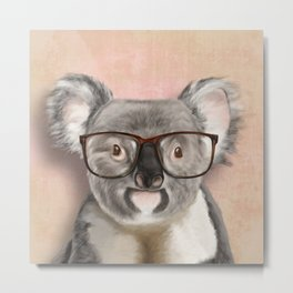 Funny koala with glasses Metal Print