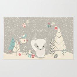 Christmas baby fox 04 Rug