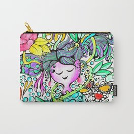 Dreamy Girl - Handmade Ink and Water Colour Illustration Carry-All Pouch