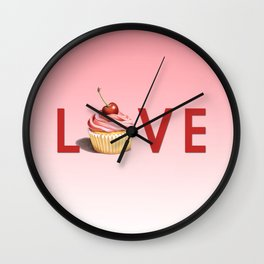 Perfect Pink Cupcake LOVE Wall Clock