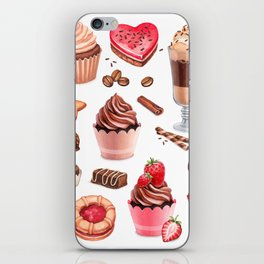 Coffee, chocolate eclair, cinnamon bun and cupcakes illustrations iPhone Skin