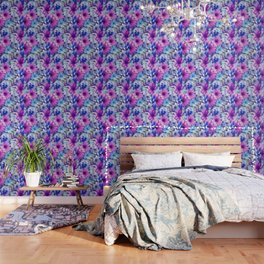 Dark pink and blue floral pattern Wallpaper