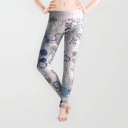 Abstract rustic navy blue gray floral pink stripes pattern Leggings