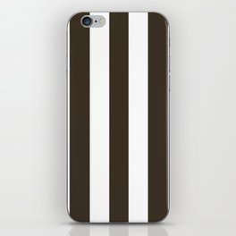 Cola brown - solid color - white vertical lines pattern iPhone Skin