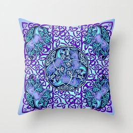 7 Blue Celtic Horses Throw Pillow