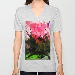 Rose Romantica Pink Flower Maelstrom Unisex V-Neck