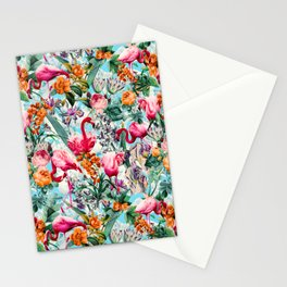 Floral and Flamingo VII pattern Stationery Cards