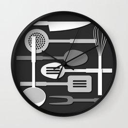 Kitchen Utensil Silhouettes Monochrome III Wall Clock