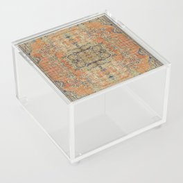 Vintage Woven Coral and Blue Acrylic Box