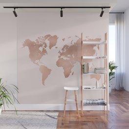 Rose Gold World Map Wall Mural