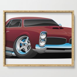 Classic American Muscle Car Cartoon Serving Tray