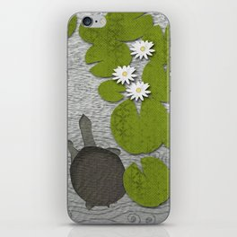 Water lilies with Florida Soft-shell Turtle iPhone Skin