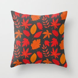 Red autumn leaves Throw Pillow