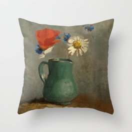 "Odilon Redon ""Pichet au Coquelicot et a la Marguerite"" Throw Pillow"