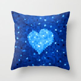 Winter Blue Crystallized Abstract Heart Throw Pillow