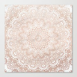 Mandala - rose gold and white marble 3 Canvas Print