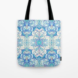 Teal Blue, Pearl & Pink Floral Pattern Tote Bag