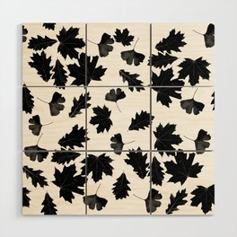 Falling Autumn Leaves in Black and White Wood Wall Art