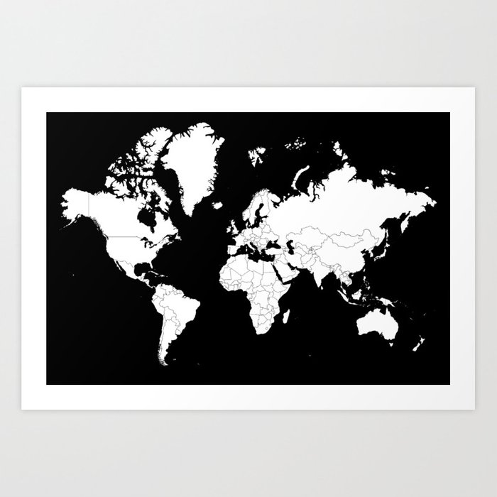 Minimalist world map white on black background art print by minimalist world map white on black background art print gumiabroncs Images