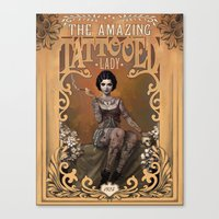 lady gaga Canvas Prints featuring The Amazing Tattooed Lady by Rudy Faber
