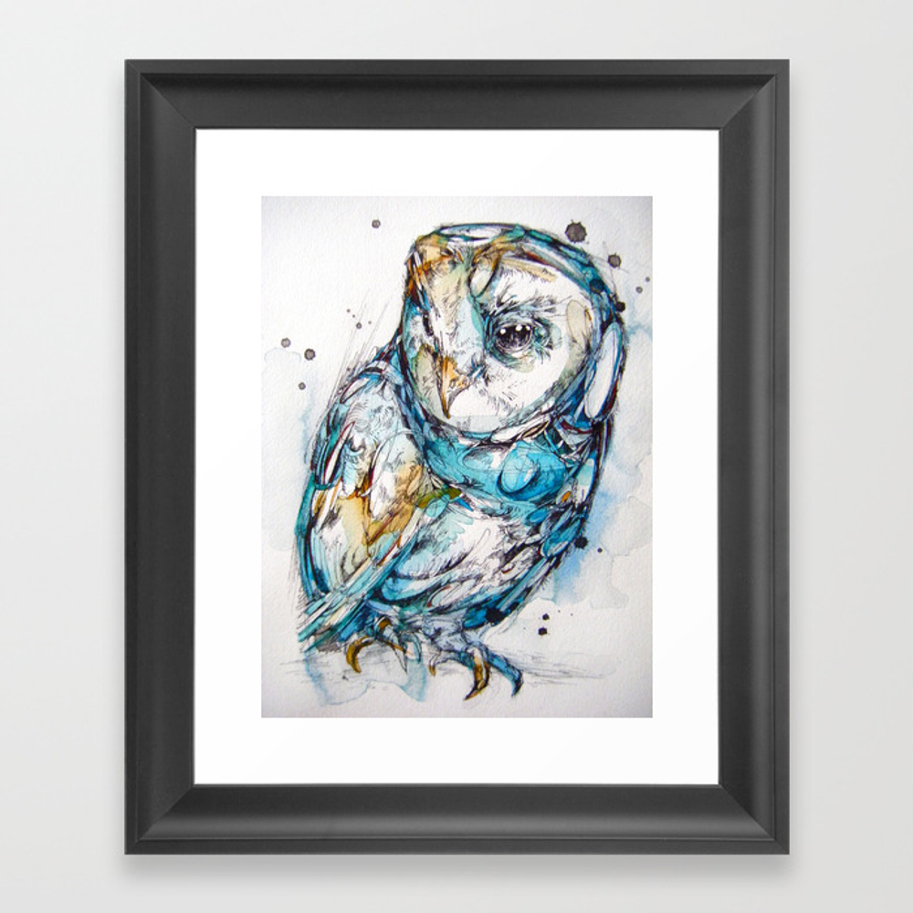 The Sea Glass Owl Framed Art Print by Owlcore FRM761131