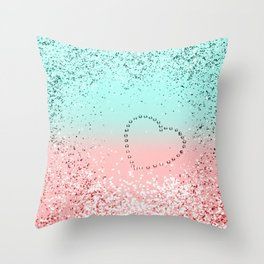 Summer Vibes Glitter Heart #1 #coral #mint #shiny #decor #art #society6 Throw Pillow