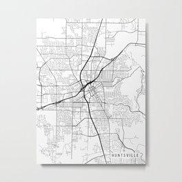 Huntsville Map, Alabama USA - Black & White Portrait Metal Print