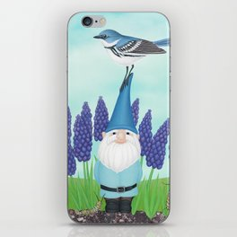 gnome with cerulean warbler and grape hyacinths iPhone Skin
