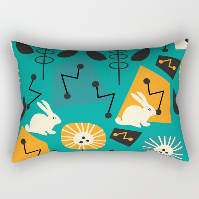 Mid-century pattern with bunnies Rectangular Pillow