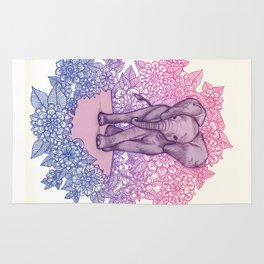 Cute Baby Elephant in pink, purple & blue Rug