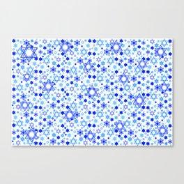Dynamic Blue Stars of David Pattern Canvas Print