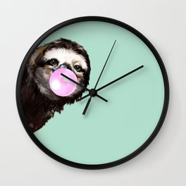 Bubble Gum Sneaky Sloth in Green Wall Clock