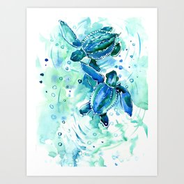 Turquoise Blue Sea Turtles in Ocean Art Print