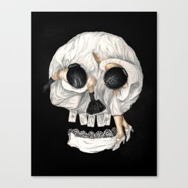 Tarot Reader Girl - Optical Illusion Skull Canvas Print