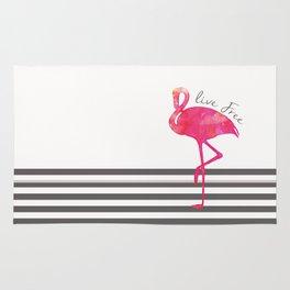 Live Free Flamingo  Rug