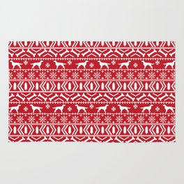 Irish Setter fair isle christmas red and white holiday sweater gifts dog breed Rug