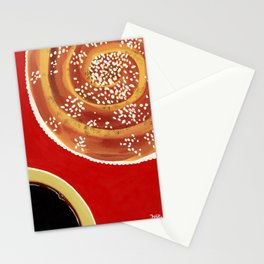 Coffee & cinnamon bun Stationery Cards
