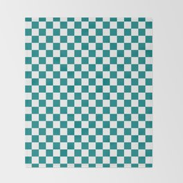 White and Teal Green Checkerboard Throw Blanket