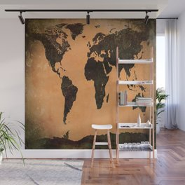 Grungy Abstract World Map Wall Mural