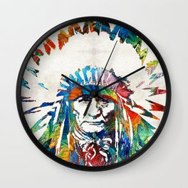 Native American Art - Chief - By Sharon Cummings Wall Clock