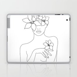 Minimal Line Art Woman with Flowers IV Laptop & iPad Skin