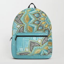 Cyan & Golden Yellow Sunny Skies Medallion Backpack