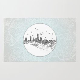 Austin, Texas City Skyline Illustration Drawing Rug