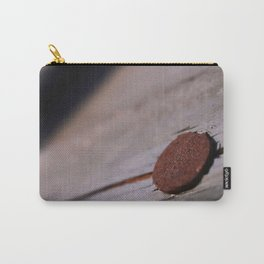 Rusty Nail Head on Painted Weathered Wood Carry-All Pouch