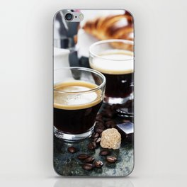 Breakfast with coffee and croissants iPhone Skin