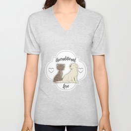 Unconditional Love Cat and Dog as Family Members Stripes Unisex V-Neck