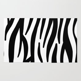 abstract modern safari animal black and white zebra print Rug