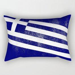 Greek Distressed Halftone Denim Flag Rectangular Pillow