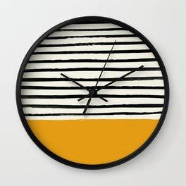 Fall Pumpkin x Stripes Wall Clock